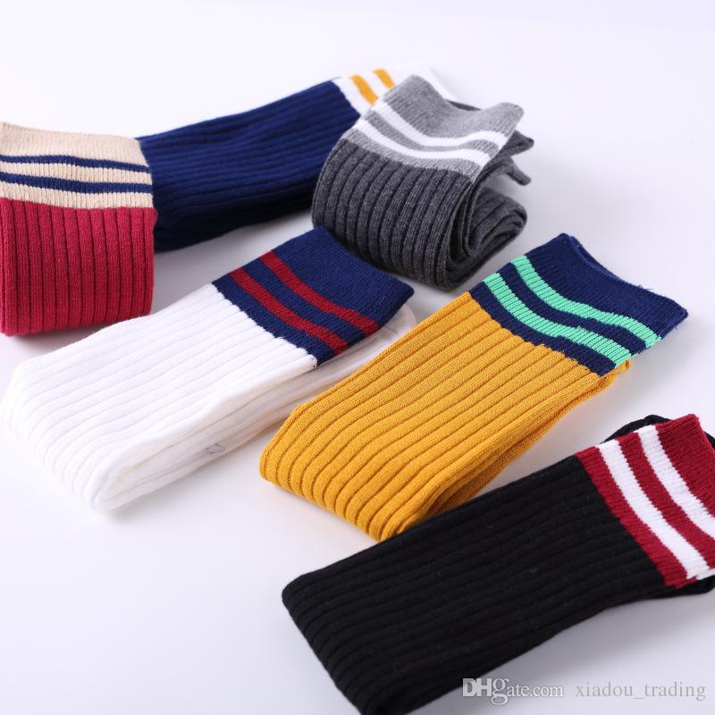 2017 осень и зима корейская версия ветер полосы Женские носки Бейсбол хлопчатобумажные чулки носки Родитель-Ребенок носки оптом