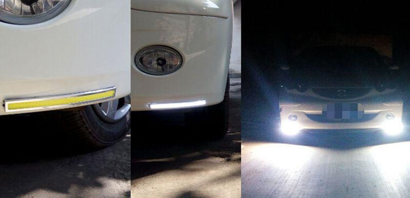 17 CM LED COB DRL Daytime Running Luz À Prova D 'Água Externo Led Car Styling Fonte de Luz Do Carro de Estacionamento Nevoeiro Bar lâmpada
