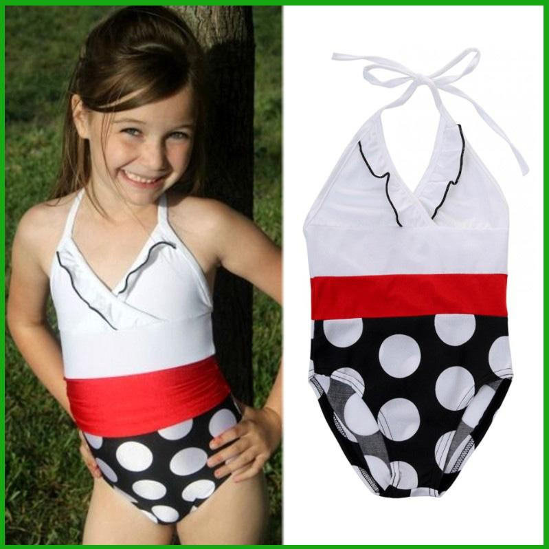 52303046c3e9d 2017 Fashion Summer Cute Girl Swimsuit Baby Girls Clothing One Pieces White  Tops Black Dot Baby Kids Swimming Suits Canada 2018 From Tyfactory