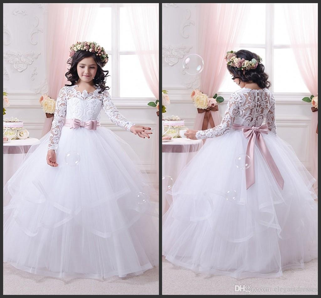 5e19f79bd Newest Ball Gown Long Sleeve Birthday Bridesmaid Wedding Party Holiday White  Lace Tulle Flower Girl Dresses Flower Girl Dress Shop Flower Girl Dresses  ...