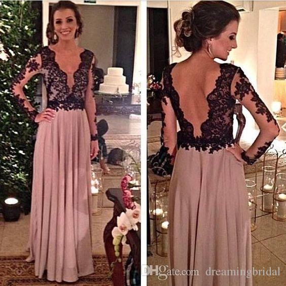 2018 Backless Mutter der Brautkleider Chiffon V-Ausschnitt Long Sleeve Prom Kleider Formale Abend Party Kleid Kleider nach Maß Plus Größe