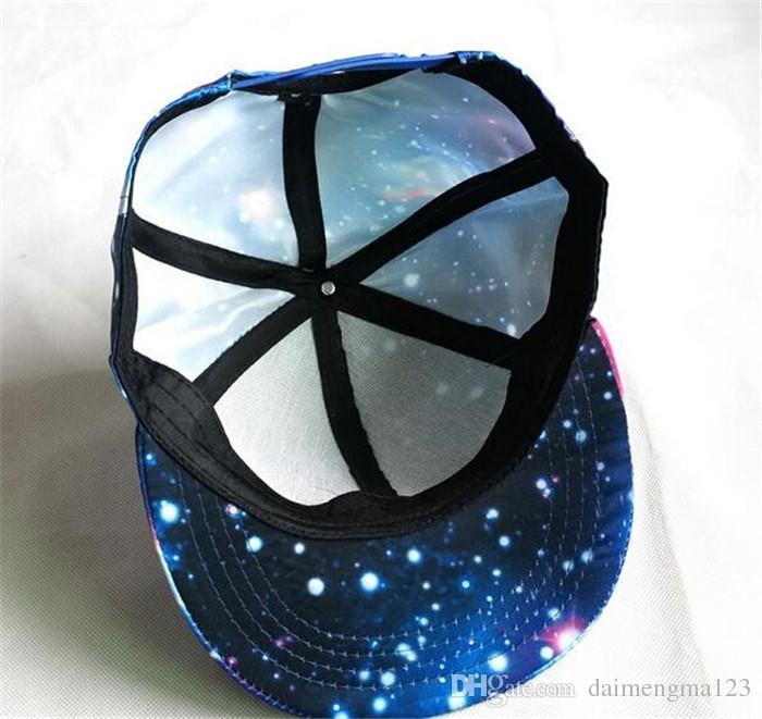 Moda Coreano Galáxia Padrão Espaço de Impressão Snapback Estilo Mulheres Homens Chapéus Moda Unissex Beisebol Hip Hop Cap D765
