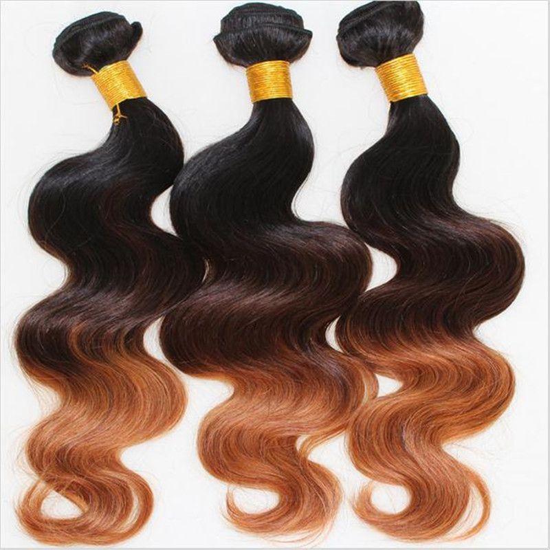 1B / 4/30 Ombre Pérou Cheveux Tissages vague de corps vierge péruvienne 3Bundles Racines foncé Trois tons Ombre humains Cheveux Extensions TRAMES
