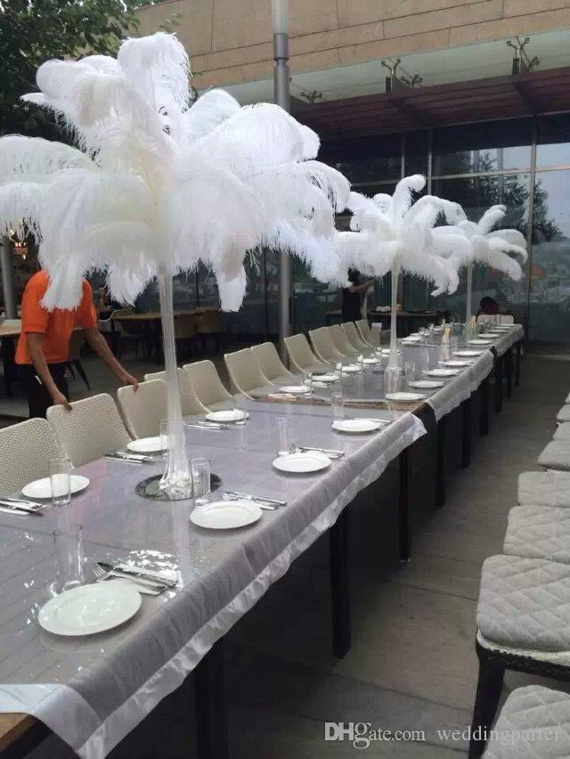 Wholesale black white ostrich feather plume for wedding