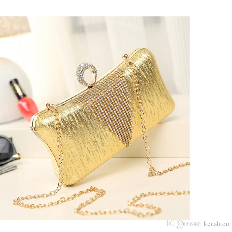 hot! Premium Luxury Crystal Ring Clasp Cutout Evening Bag Hollow Clutch Purse Women Net Diamond Handbag Purse New - GH8