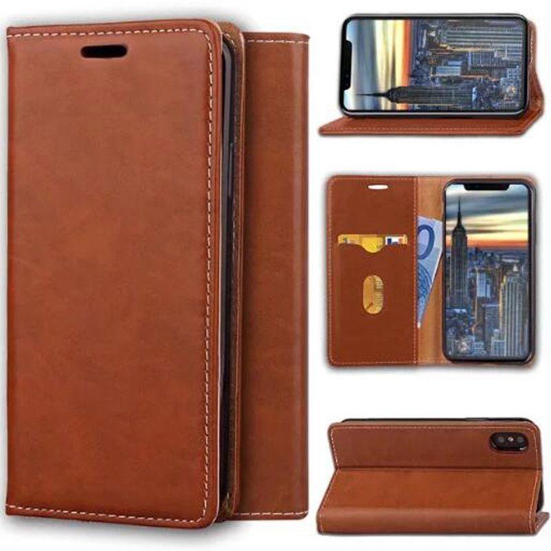 Custodia a portafoglio magnetica in magnete con alloggiamento scheda Flip Stand Custodia posteriore iPhone X
