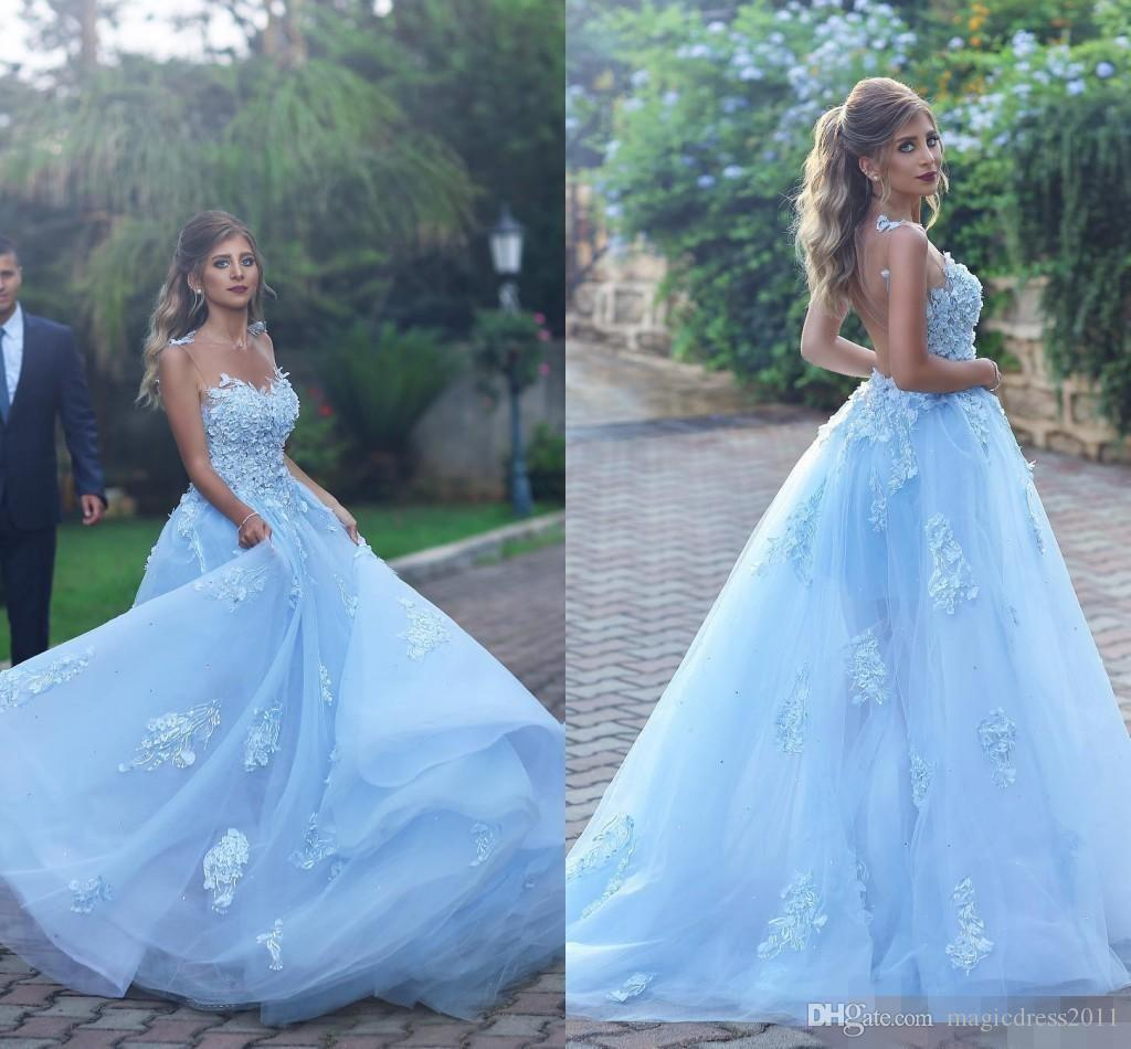8fd8f56f329 2017 Custom Made Saudi Arabia Sky Blue Prom Dress Evening Gowns Lace ...