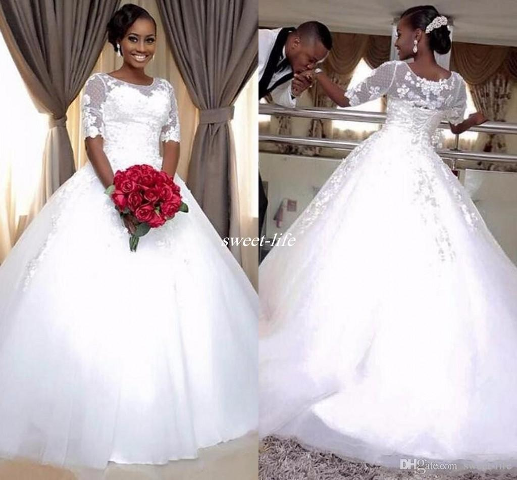 c08fafa52bdd Discount 2017 New Modern Cheap With Half Sleeve Lace Ball Gown Corset  Wedding Dresses Sheer Neck Plus Size White Bridal Wedding Gowns Custom Made  Tidebuy ...