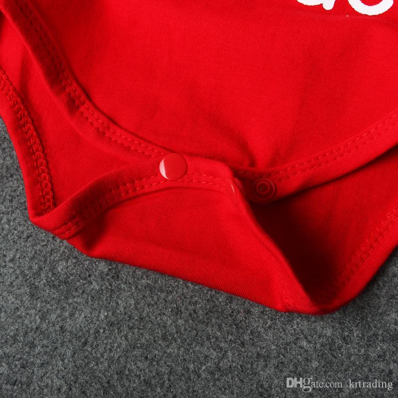 Детские Рождество красный комбинезон милые письма печати младенцев с коротким рукавом onesie baby Xmas одежда