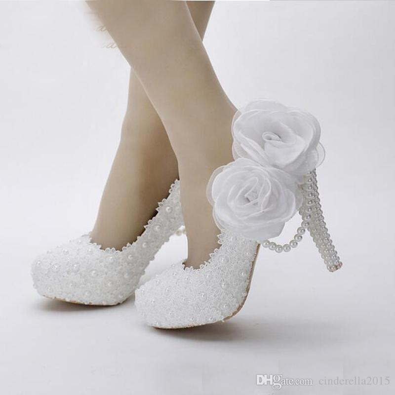 2020 White Flower Lace Platform Bridal Shoes Beautiful Women High Heels Handmade Lace Wedding Dress Shoes Girl Birthday Party Pumps