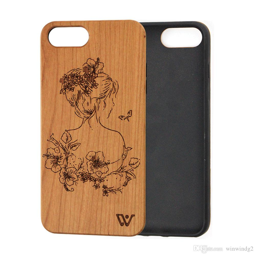 best service fbe5c bc6fc Wooden Phone Case Cover Printing Beautiful Pattern TPU Silicone Back Cover  Mobile Phone Accessories for iPhone X for iPhone 8 iPhone 7