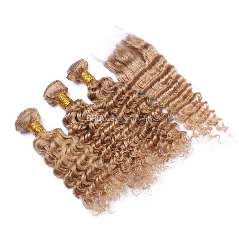 뜨거운 판매 9A 깊은 파도 인간의 머리카락 3 묶음 레이스 클로저와 함께 꿀 금발 # 27 머리 짜다 상단 레이스 클로저 4x4