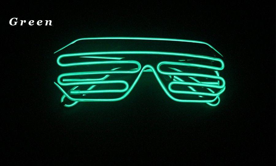 HEISSE einfache el Gläser El Wire Fashion Neon LED leuchten Shutter Shaped Glow Sonnenbrille Rave Kostüm Party DJ Bright Sonnenbrille