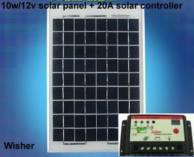 10W/18V Polycrystalline Solar Panel 20A solar controller,100% full capacity  Class A Quality for 25 years using life