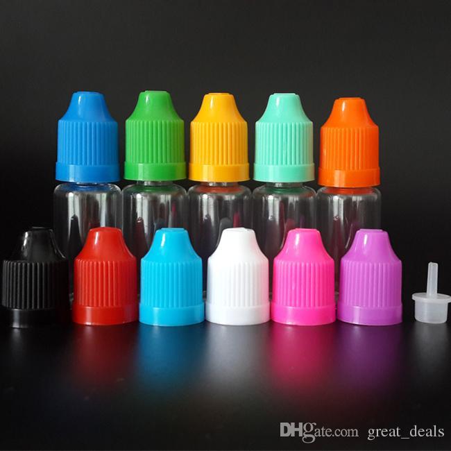 10 مل زجاجة E سيج فارغة سائل زجاجات PET القطارة واضحة مع قبعات Childproof وطرف رقيقة طويلة لعصير E السائل E