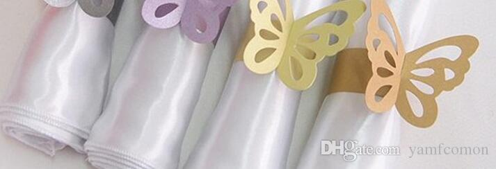 Metallic Butterfly Paper Napkin Rings Wrap Wedding Holder Bridal Shower Favor Napkin Holder For Party Home Table Decoration