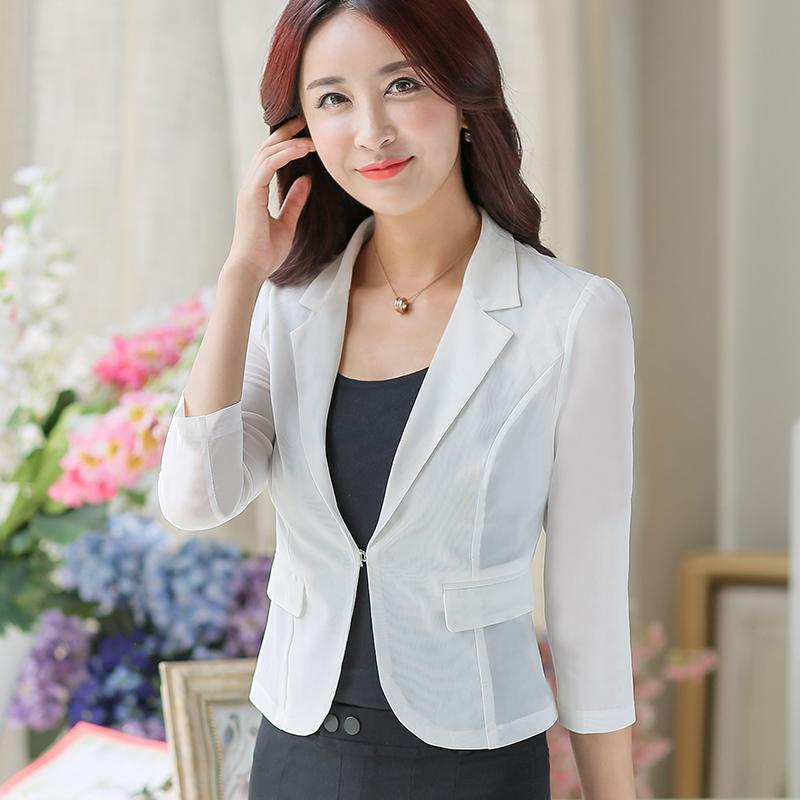 Women White Chiffon Mesh Blazer Suits Formal Wear See Through Slim
