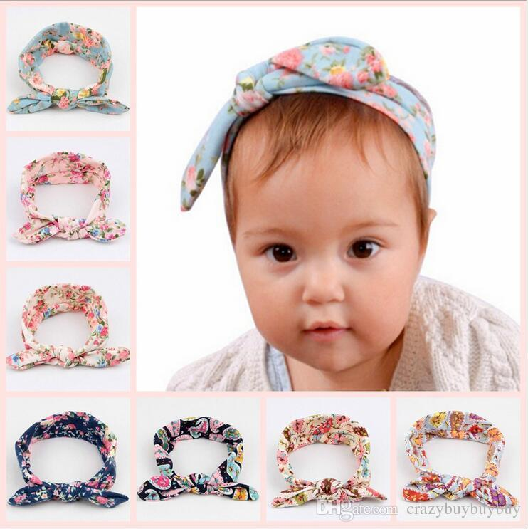 Children Kids Headbands Bow Baby turban Knot Princess hairbands Cotton Bunny Rabbit Ear Headband baby elastic Floral hair accessories KHA454