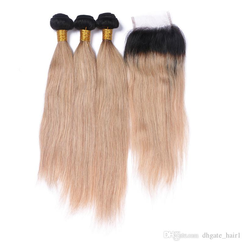 Straight 1B/27 Dark Root Honey Blonde Brazilian Human Hair Wefts with Closure 2Tone Ombre 4x4 Front Lace Closure with Virgin Hair 3Bundles