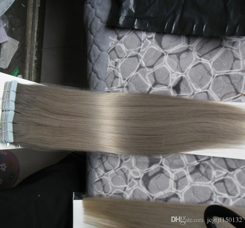 Silver Gray Hair Extensions Seamless Remy 100g Tape In Human Extensions 100g Pu Skin Weft Tape Hair Extensions Hair Products