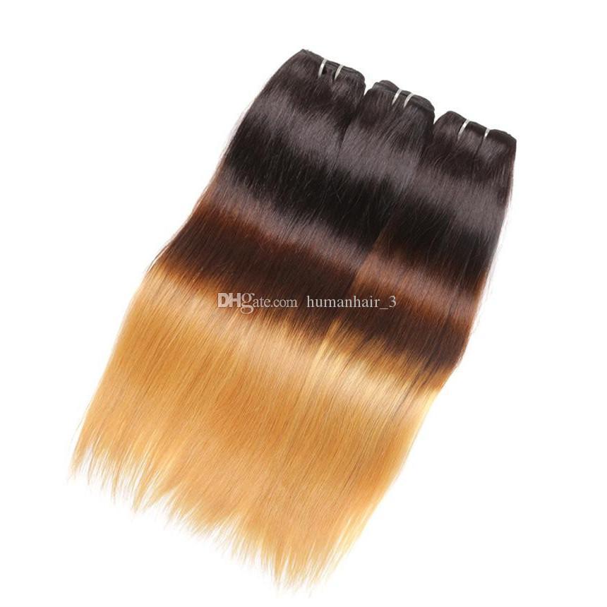 1b 4 27 bal sarışın koyu kök ombre brezilyalı düz üç ton İnsan saç dokuma atkı uzantıları 3 paketler 10-30 inç