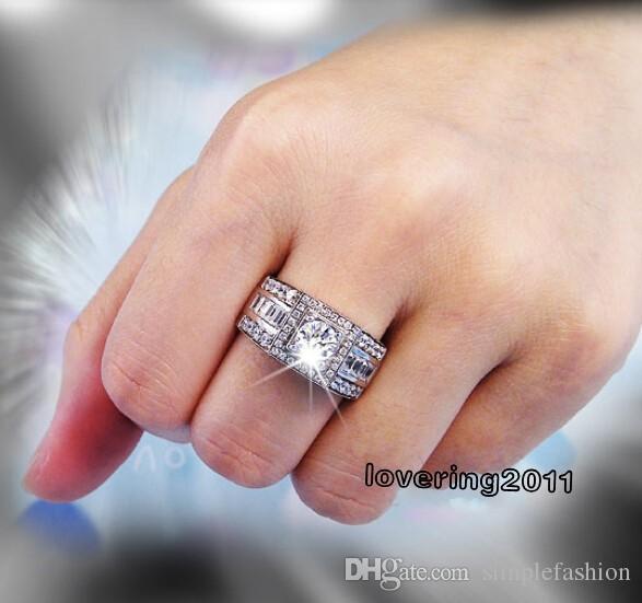 Vecalon 패션 남자 약혼 반지 솔리테어 1ct Cz 시뮬레이션 된 다이아몬드 반지 10KT 화이트 골드 결혼 반지 결혼 반지 Sz 7-13