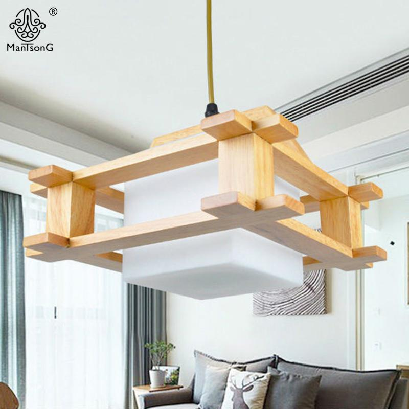 Modern Wood Pendant Lights Nordic Style Wooden Glass Lamp Shade 1 ...