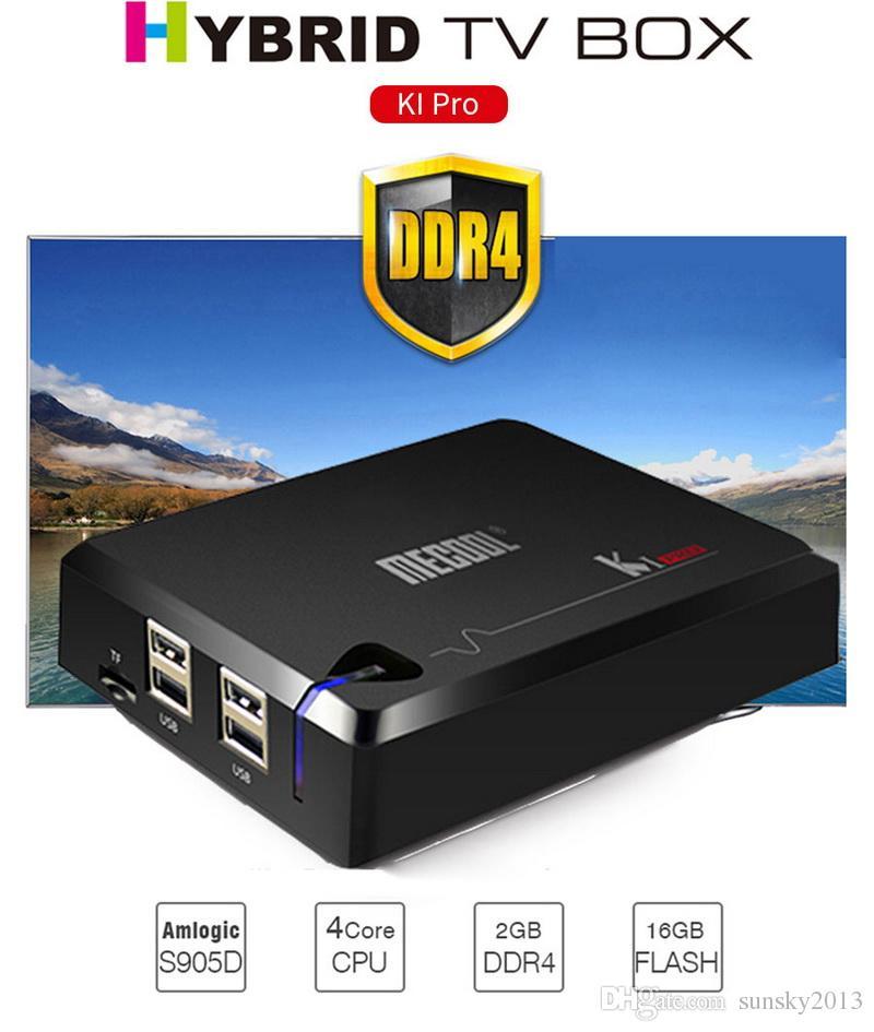 Mecool KI Pro Android TV Box DVB S2 T2 DVB-C Satellite TV Receiver Smart  Mini PC DDR4 2GB RAM 16GB Amlogic S905D Quad Core Wifi Media Player