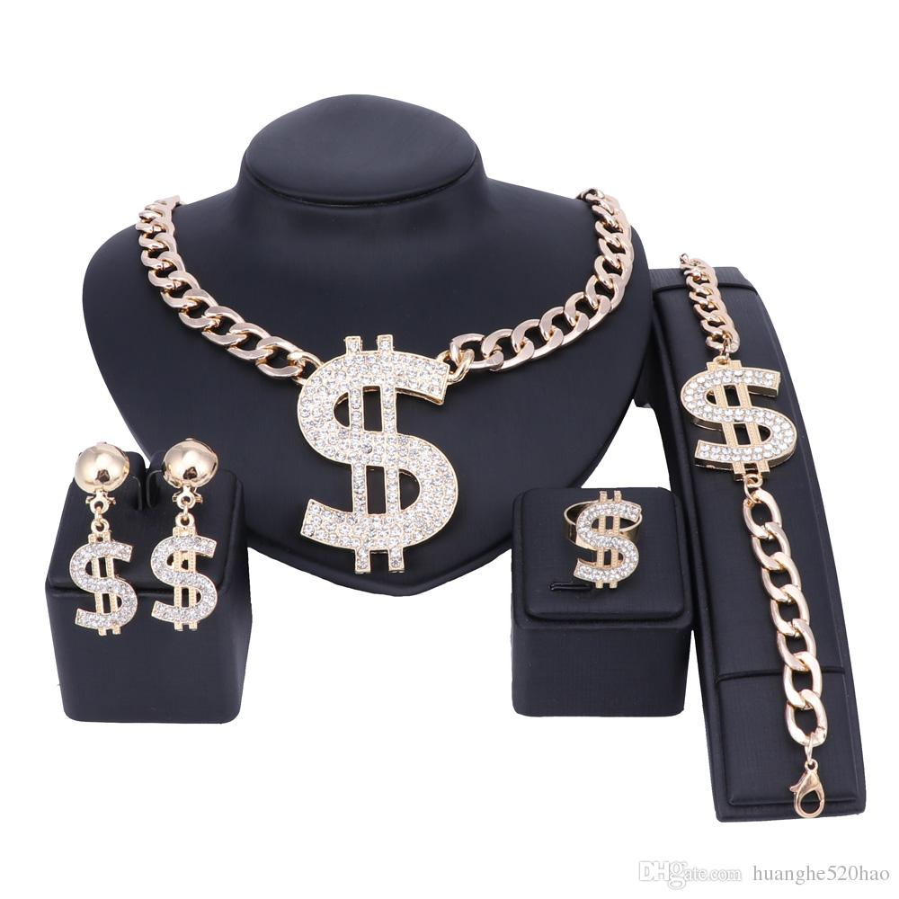 Africa Nigeria Dubai Wedding Jewelry Sets Gold Color Dollar Sign Necklace Earring Bracelet Ring Charming Women Party Jewelry Set