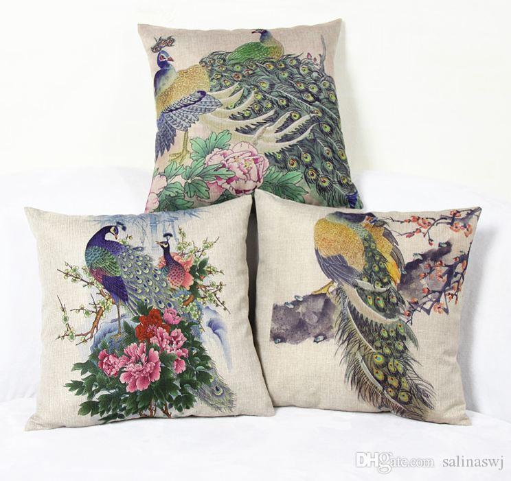 Peacock Decorative Pillow Case Cushion Cover Zippered 18