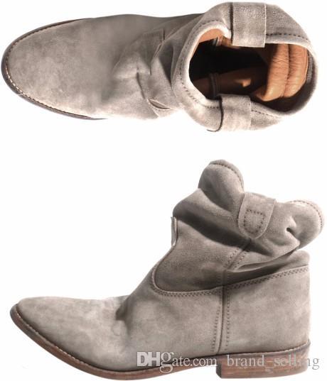 Cool Von Herbst Großhandel Nubukleder Frauen Distressed Flach Retro Schuhe Stiefeletten Wildleder Stiefel Motorradstiefel Biker xdBCeWro