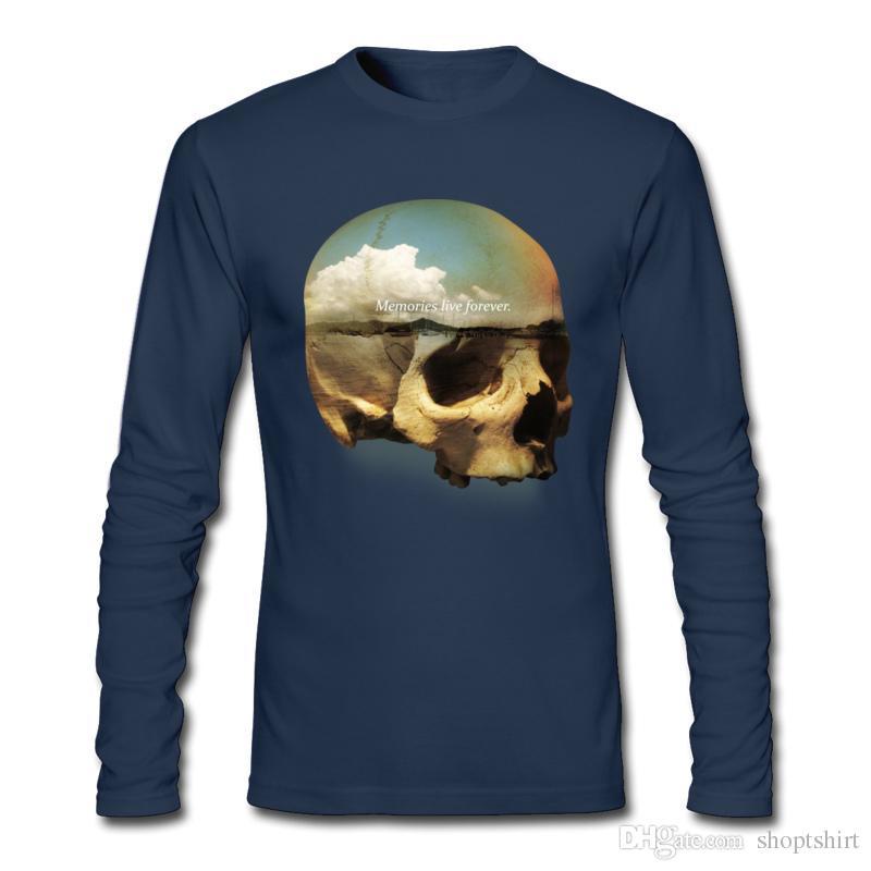 NEW 2017 Tide Brand 100 % Cotton 긴팔 T 셔츠 캐주얼 Tee 3D 프린트 두개골 라인 스톤 MENS 티셔츠 최고 품질