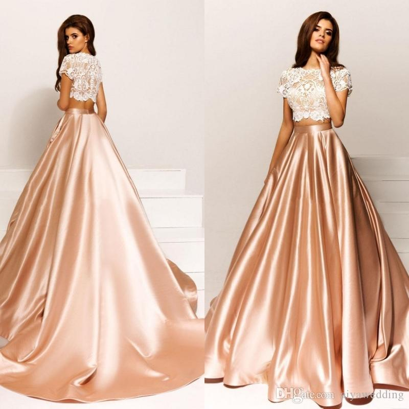 Formal Evening Gowns By Designers: 2019 Crystal Design Two Piece Champagne Evening Dresses