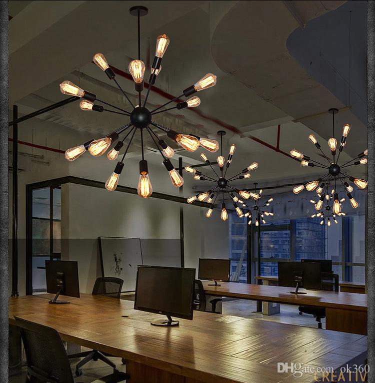 빈티지 펜 던 트 조명 밧줄 에디슨 전구 램프 현대 비품 조명 산업 선 철 파이프 골동품 빛 스파이더 로프트 램프
