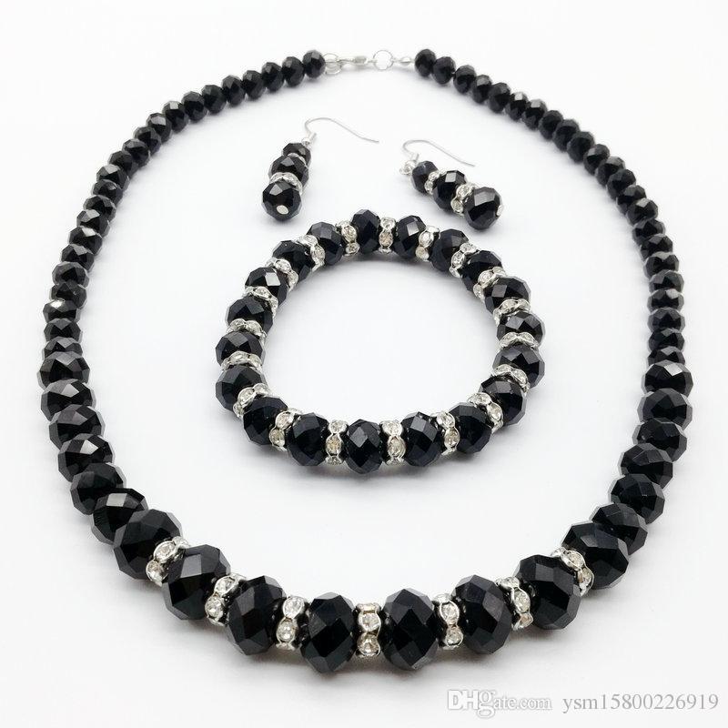 Darmowa wysyłka Hurtownie 1 zestaw czarnych szklanych koralików naszyjnik bransoletka kolczyki garnitur, zestaw biżuterii mody