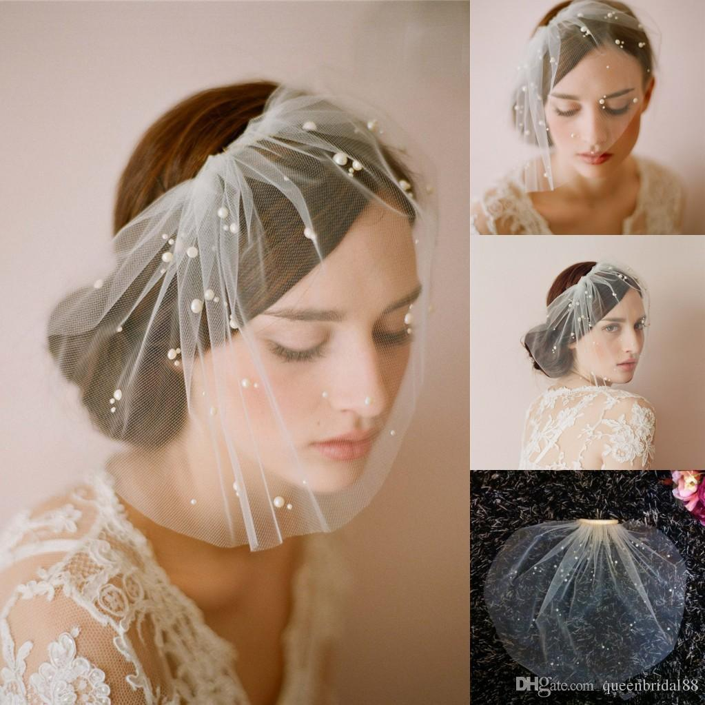 Hot Sale Handmade White&Ivory Tulle Birdcage Veils for Brides Beaded Short Bridal Wedding Veil with Comb 2019 Cheap Bridal Accessories
