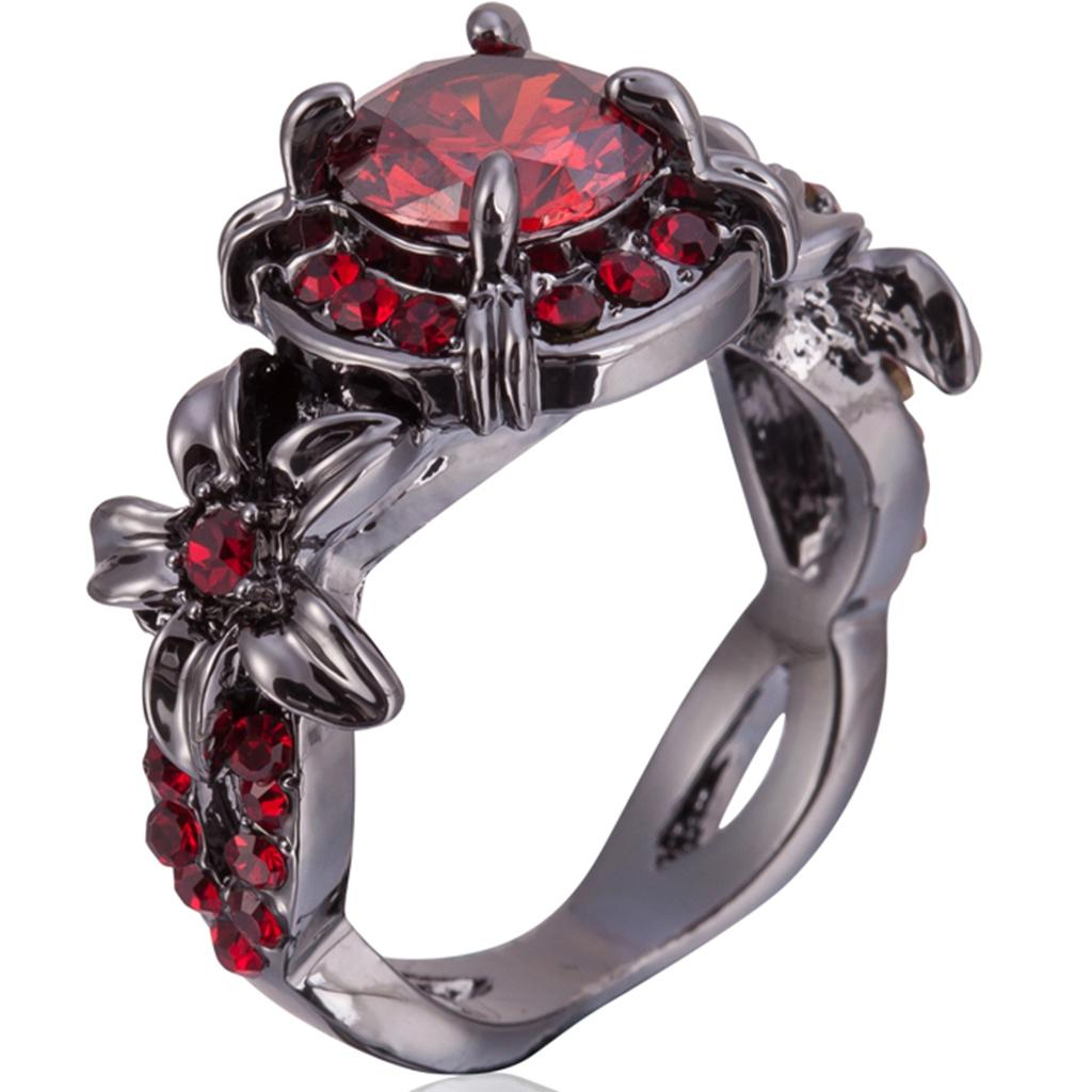 Ruby Wedding Rings.Size 4 12 Black Gold Plated Red Ruby Wedding Engagement Ring Floral Cocktail Anniversary Birthday Statement Fashion Bridal Crystal Gemstone