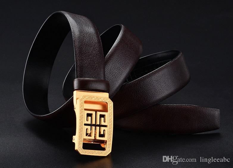 Cuir vachette boucle automatique grosse boucle Marque ceintures pour hommes et femmes Ceinture de luxe en cuir véritable Ceinture or argent boucle noire