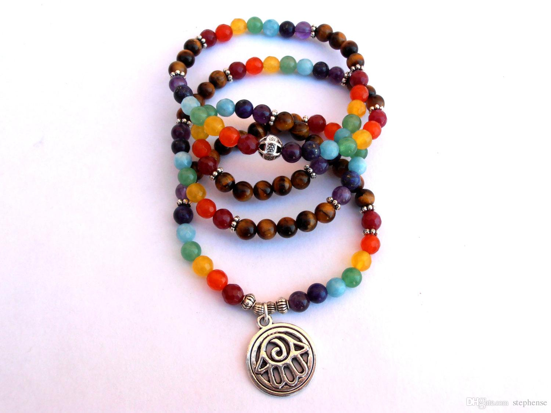 SN0105 Neues Design Chakra 108 Mala Wickelarmband oder Halskette Mala Armband Hamsa Armband Yoga Armband Meditationsarmband