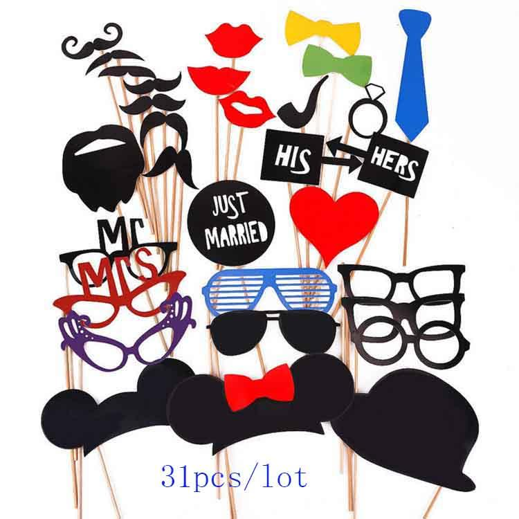 New Arrive Funny 31pcs/Slot DIY Mask Photo Booth Props Mustache A Stick Wedding Fun Favors Birthday Party DIY Decorations