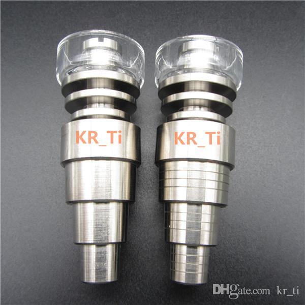 2016 가장 새로운 최고 품질의 GR2 6in1 티타늄 / 석영 하이브리드 조인트 10mm14mm18mm19mm는 10 개의 코일 용 글라스 봉에 적합합니다
