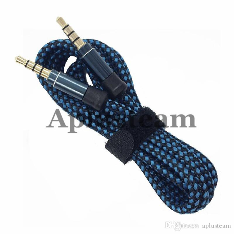 Auxiliary AUX 1.5M 3M Round Unbroken Metal Fabric Braiede Audio Cable Extension 3.5mm Male Stereo for Mobile phone MP3 Speaker computer