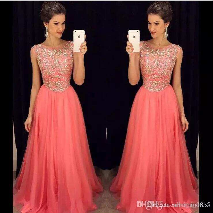 2017 Luxurious Coral Bridesmaid Dresses Bling Prom Dresses A Line Scoop with Beading and Rhinestones Zipper Back Long Dresses Evening Wear