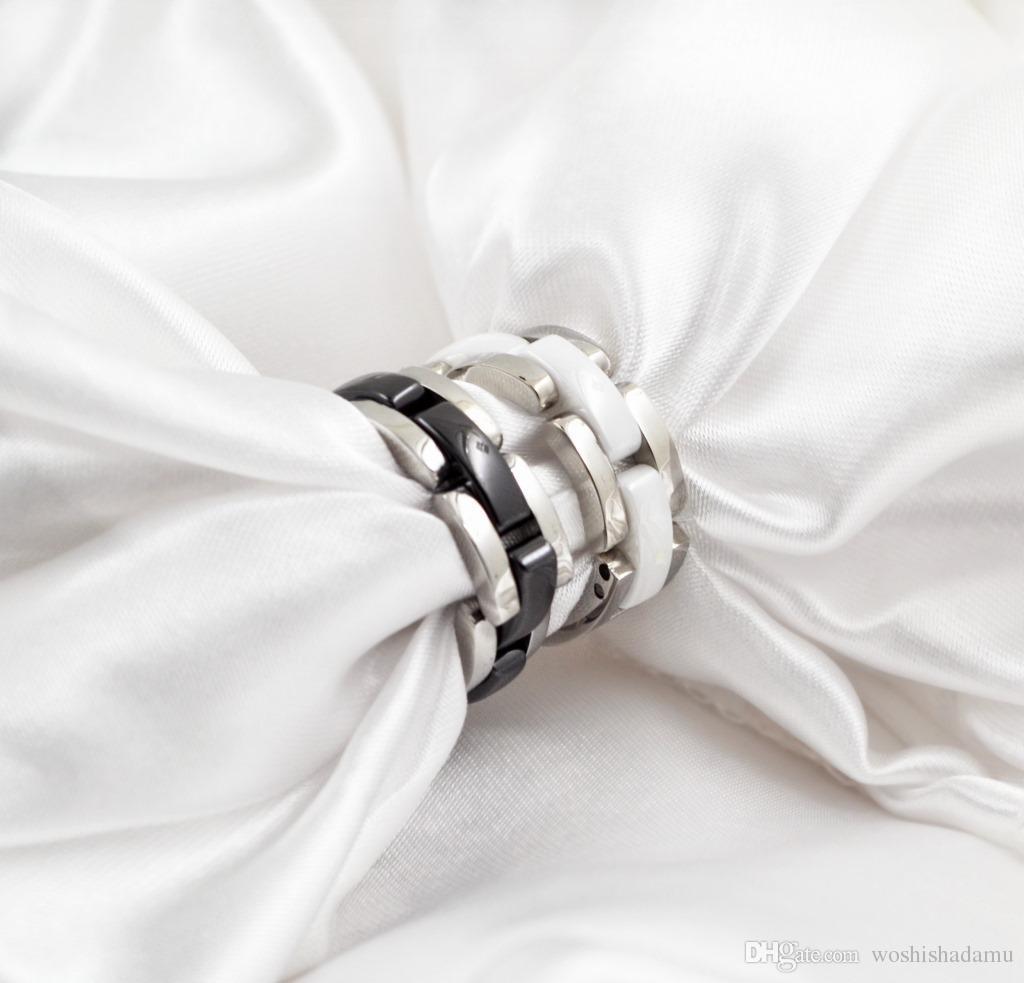 EE. UU. Tamaño 5 a 12 Hot Black / White de una capa Cerámica Whorl Rings, plata Colores de metal Titanio Acero inoxidable Mujeres / Hombres Jewelr