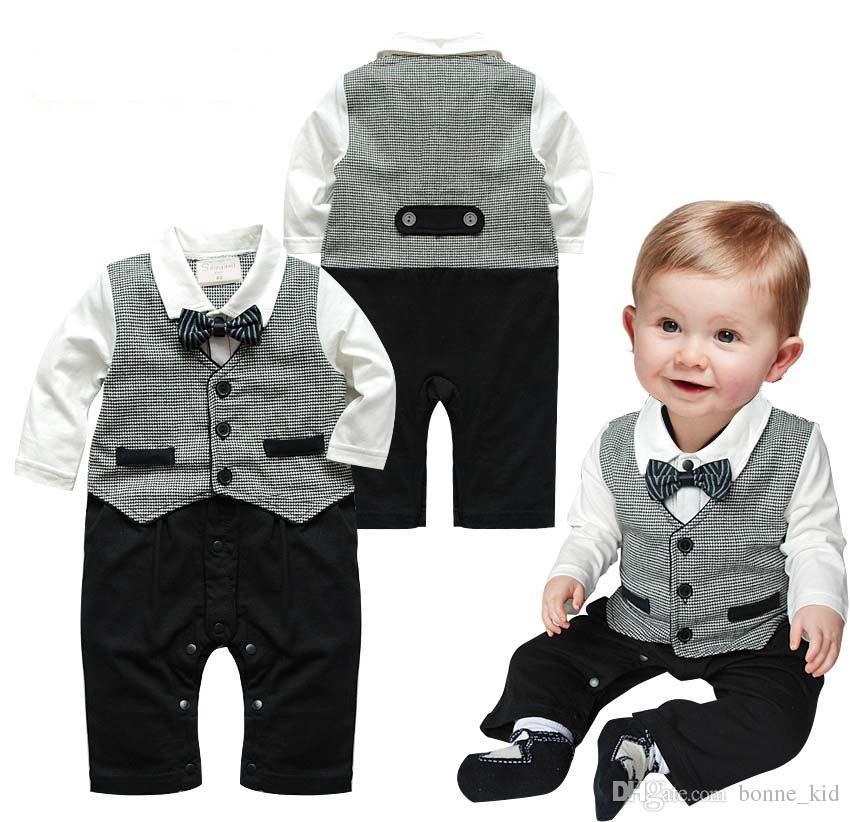c09498953 Boy Outfit Kid Clothing Jumpsuit Romper Boys Suit Bowtie Newborn ...