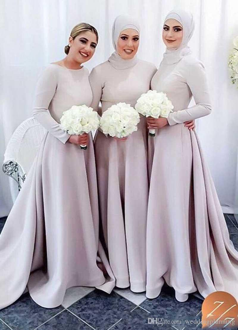 Special arabic muslim bridesmaid dresses scoop long sleeves a line special arabic muslim bridesmaid dresses scoop long sleeves a line satin hajib evening dresses cheap formal party gowns guest wedding dresses jr bridesmaid ombrellifo Choice Image