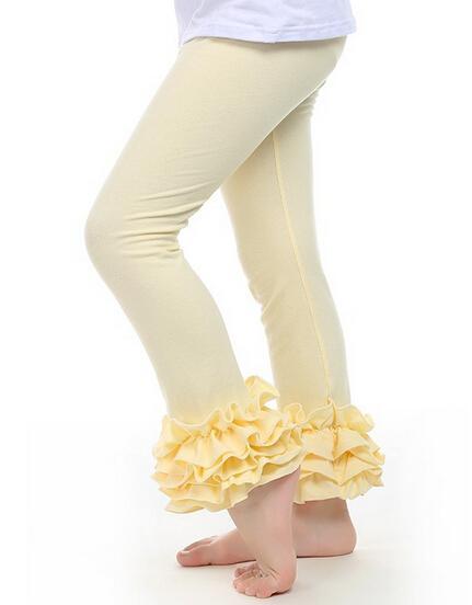 i più piccoli Il bambino del bambino delle ragazze dei capretti Ruffle Leggings Con 3 increspato nuova neonata increspature Leggings bambini Posh Pantaloni di cotone