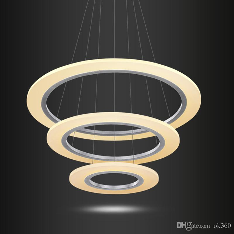 Modern Led Ring Chandelier Pendant Light Fixture Smd 3014 Round Acrylic Lighting Diameter 800mm High Quality Ceiling Vintage