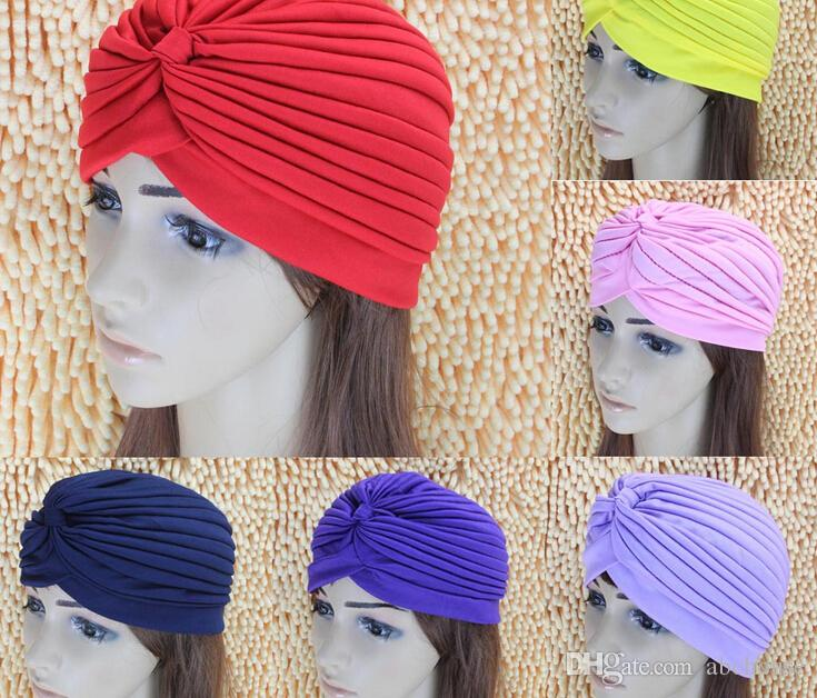 Fashion Women Lady Stretchy Polyester Turban Head Wrap Hat Band Bandana Hijab Pleated Indian Styles Caps Muslims Shower Cap