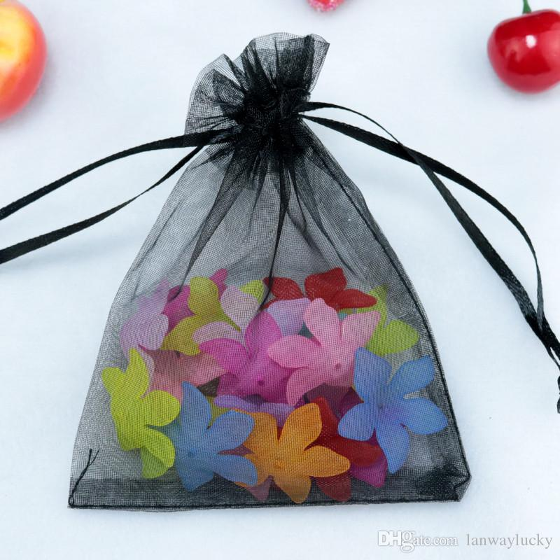 Drawable Small Sheer Organza Drawstring Jewelry Pouches Party Wedding Favor Packaging Candy Wrap Square Gift Bag 7x9cm 2.7''x3.5''